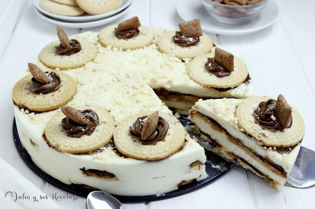 Tarta de galletas y crema de chocolate blanco. Julia y sus recetas