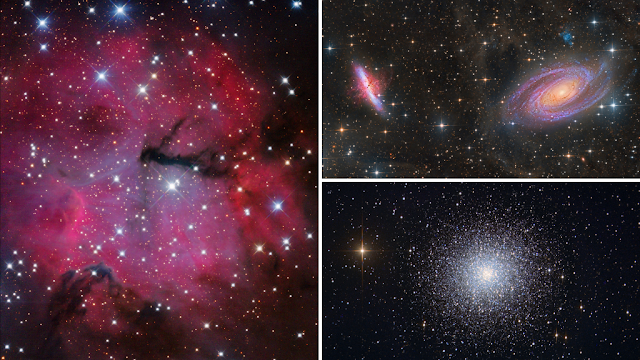 Processed Starbase sample images of The Gum 15 Nebula in Vela (left) imaged on ATEO-3, M81, and M82 Bodes and Cigar Galaxies (upper right) imaged on ATEO-1 and M13, The Great Globular Cluster in Hercules (lower right) imaged on ATEO-1.