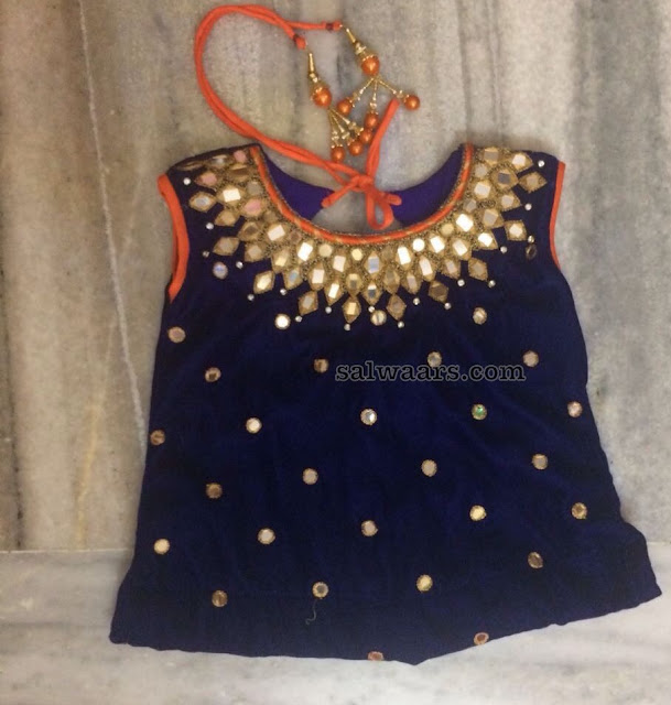 Orange Navy Blue Glass Work Lehenga