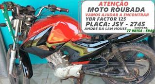 Moto é furtada em frente a residência no distrito de Cascavel em Ibicoara
