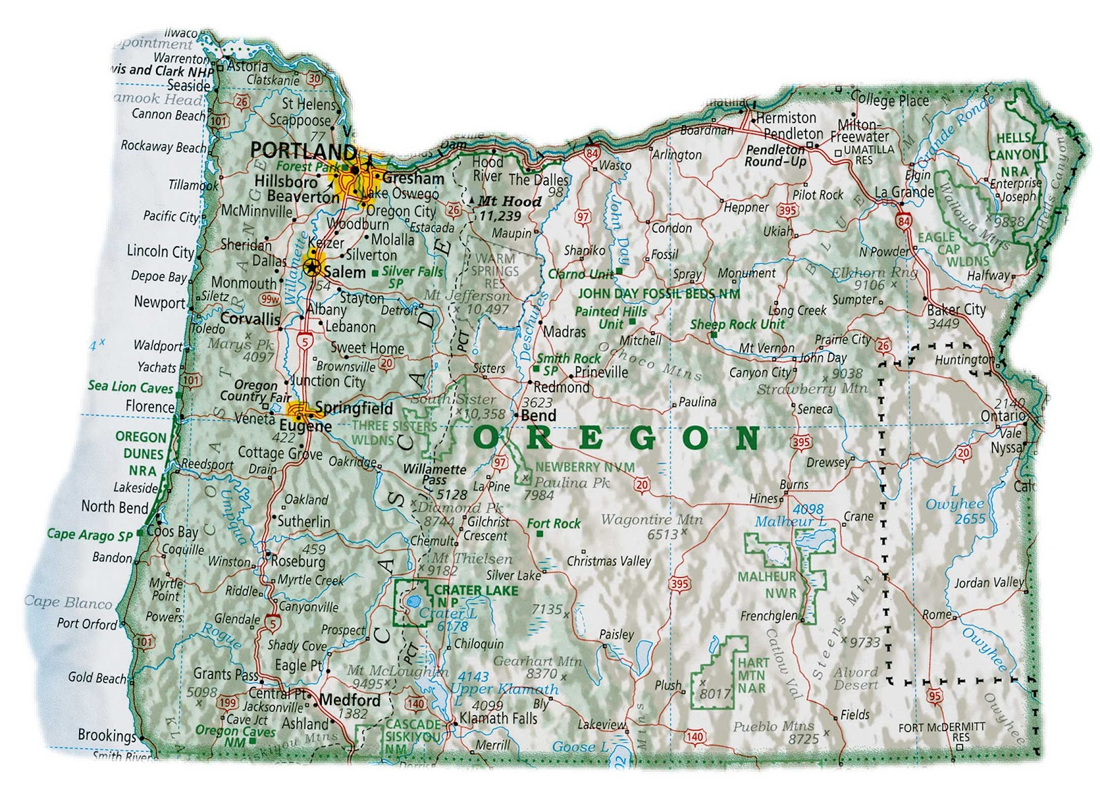 Oregon State Map With Cities Subulussalam - Map of oregon state usa