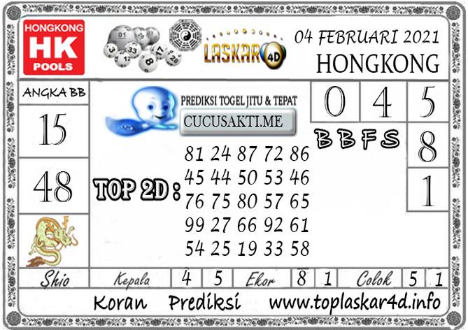 Prediksi Togel HONGKONG LASKAR4D 04 FEBRUARI 2021