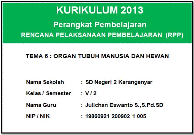 RPP kurikulum 2013 kelas 5 semester 2 revisi tahun 2017