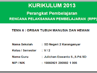 RPP Kurikulum 2013 kelas 5 SD/MI semester 2 revisi tahun 2017