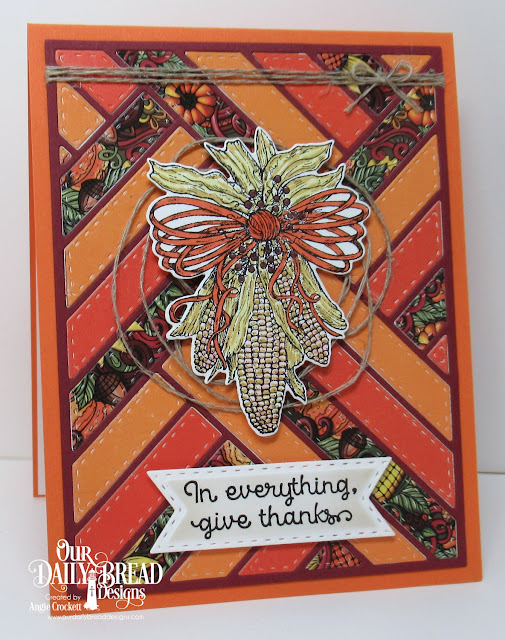 ODBD A-Maize-Ing, ODBD Custom Indiana Corn Die, ODBD Custom Quilted Background Die, ODBD Custom Double Stitched Pennant Flags Dies, Card Designer Angie Crockett