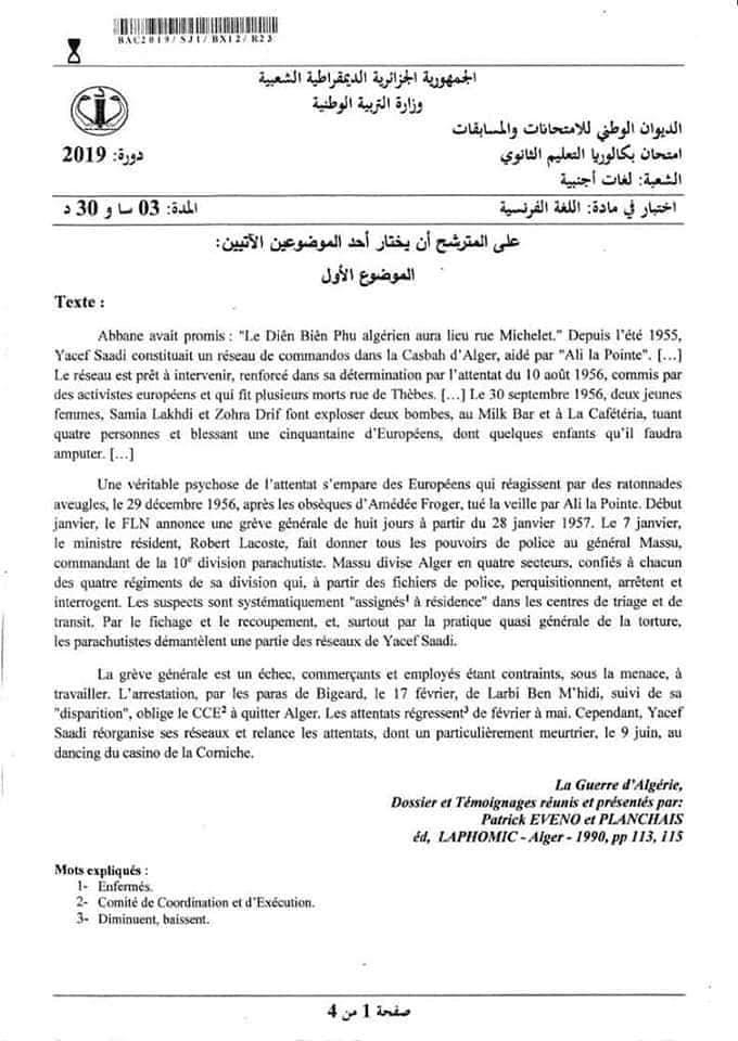 Sujet Examen Francais Bac 2019 Filiere Langues Etrangeres