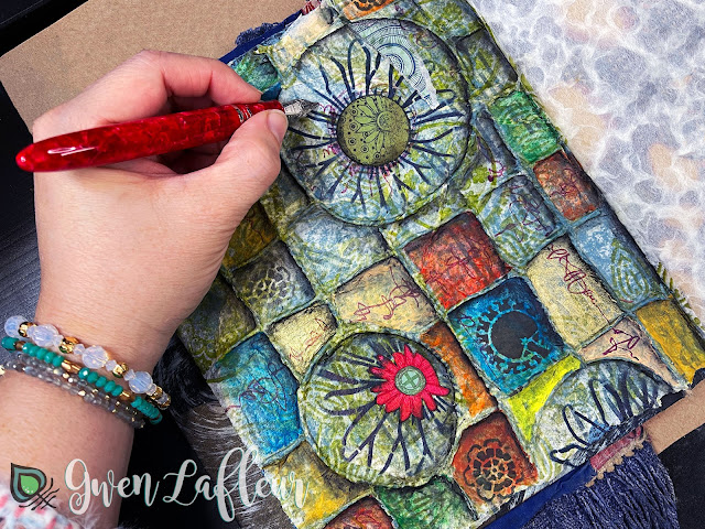 Textural Art Journaling with Stencils - Tutorial Step 8 - Gwen Lafleur