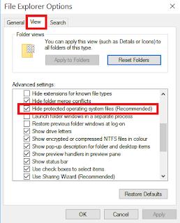 show hidden files windows 10