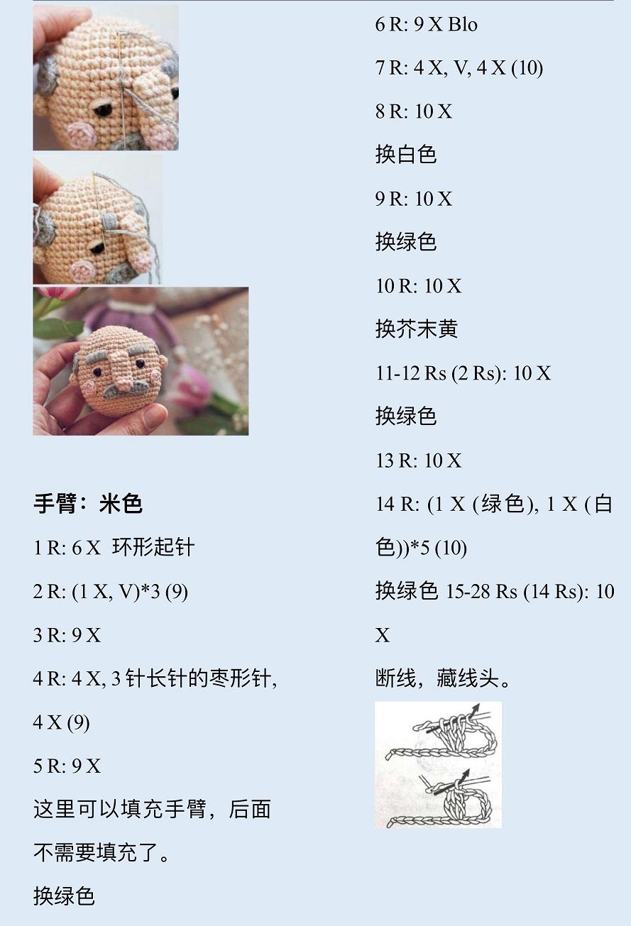 Описание вязания крючком кукольной пожилой семейной пары (4)