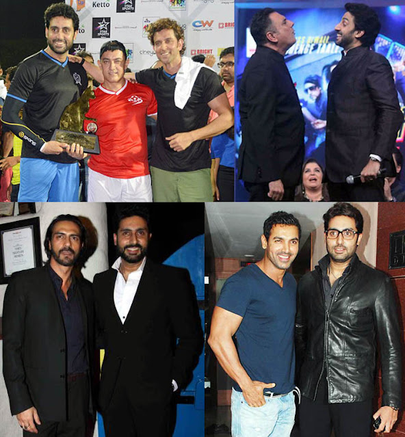 "Abhishek Bachchan with Aamir Khan (5'5""), Hrithik Roshan (5'10""), Boman Irani (6'0.5""), Arjun Rampal (6"") and John Abraham (5'11.5"")"