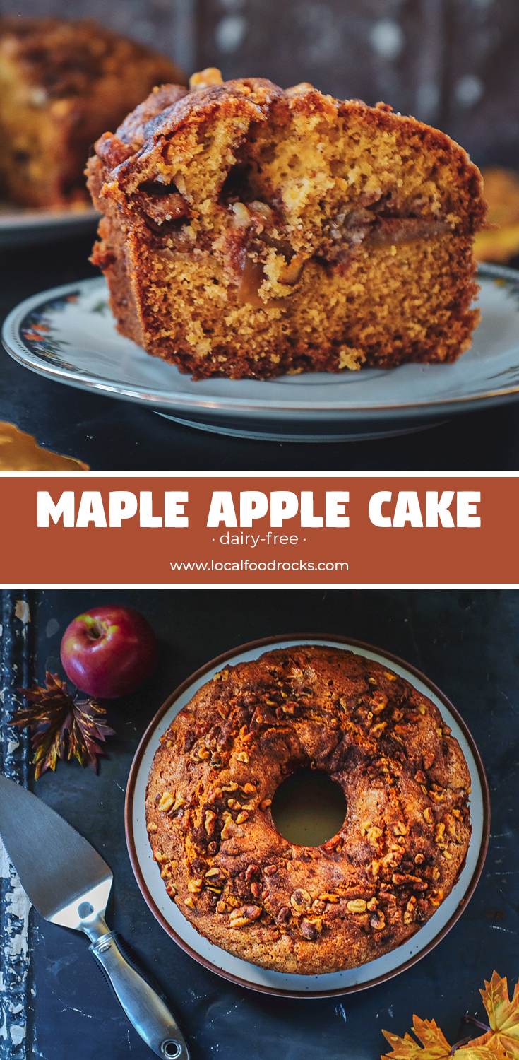 Filled with a layer of apples and cinnamon, sweetened with maple syrup, and topped with walnuts this dairy-free Maple Apple Cake is Fall simplicity at its best.