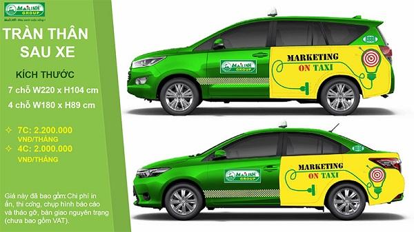 Dán quảng cáo trên xe taxi tại Đà nẵng trên 2 cánh cựa sau đến hết thân