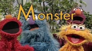 Elmo, Telly, Herry monster and Zoe sing M is for Monster. Sesame Street Alphabet Songs