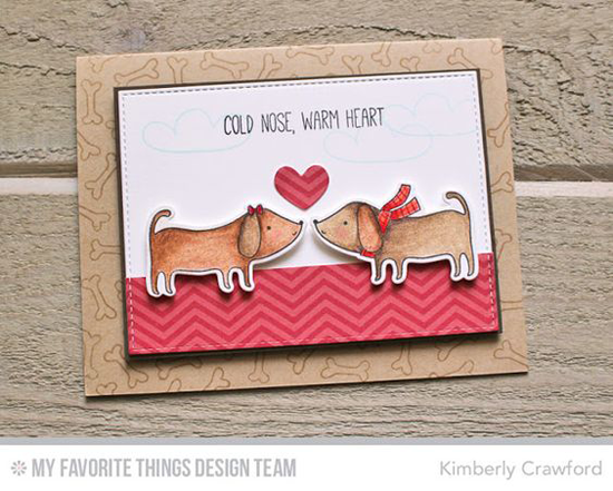 Handmade card from Kimberly Crawford featuring Top Dog stamp set and Die-namics and Stitched Rectangle STAX Die-namics #mftstamps
