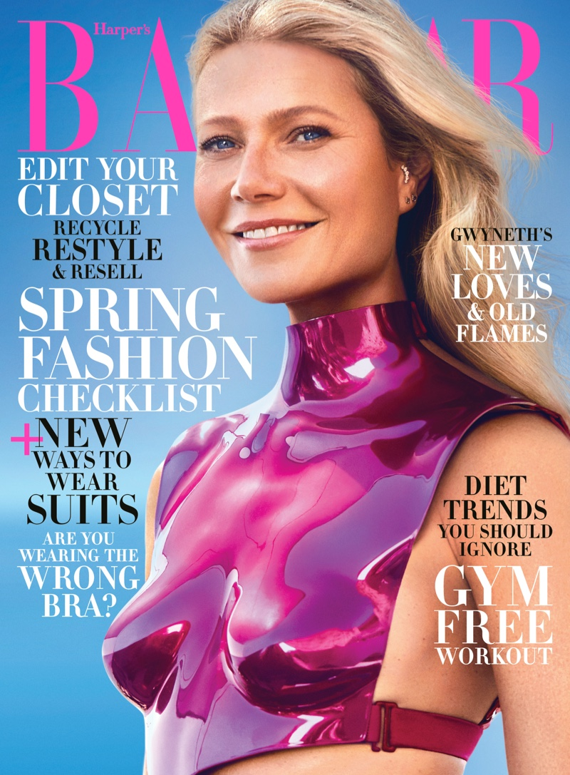 Gwyneth Paltrow poses for Harper's Bazaar US February 2020 in glam looks