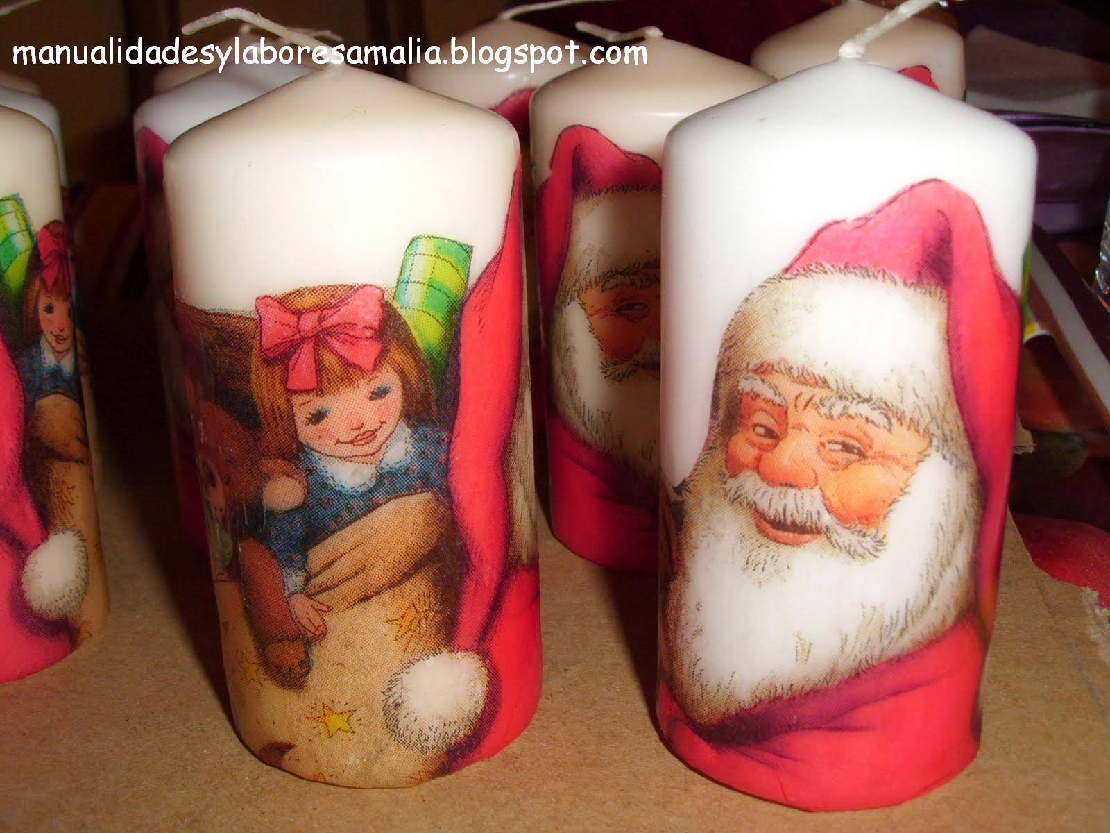 Manualidades y labores amalia feliz navidad velas navide as - Velas decoradas para navidad ...
