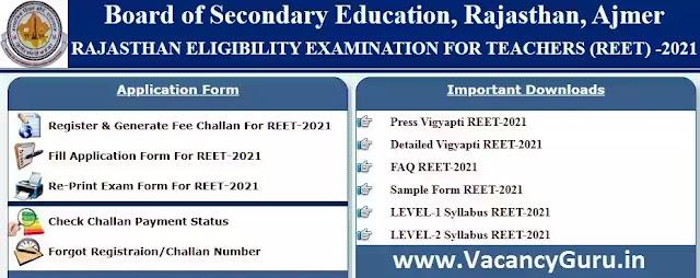 Rajasthan REET Exam Online Form 2021, REET Rajasthan 2021 Online Form