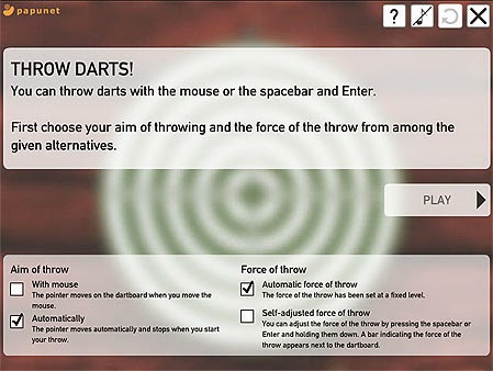 Options screen on Papunet Darts. Settings reflect the easiest single-switch / one-switch mode.