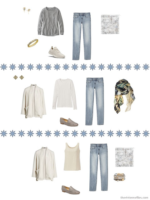 3 ways to wear faded jeans from a Tote Bag Travel Wardrobe