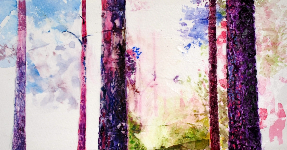 purple and pink pine forest watercolour on paper by susan wellington