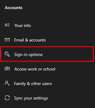 Windows - Sign-in options