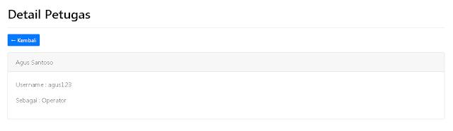 Halaman Detail Petugas Aplikasi Inventory