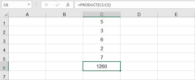 دالة الضرب في Excel