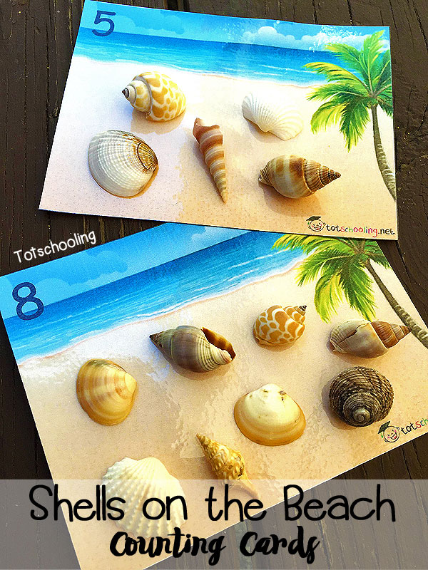 Shells On The Beach Counting Cards Totschooling