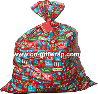 Plastic Oversize Gift Bag with Tag and Ribbon