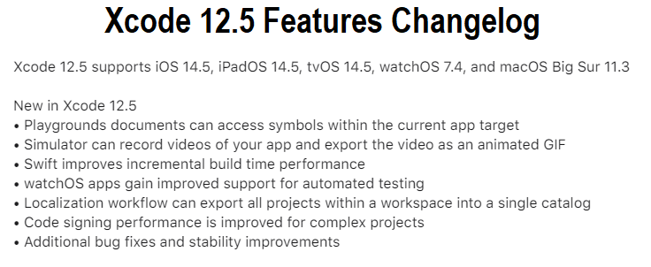 Xcode 12.5 Features