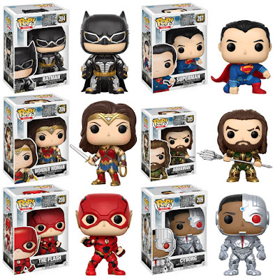 Justice League Movie Pop! Vinyl Figure Series by Funko - Batman, Superman, Wonder Woman, Aquaman, The Flash & Cyborg