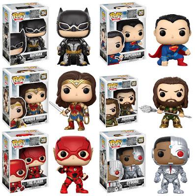 Justice League Movie Pop! Vinyl Figure Series by Funko - Batman, Superman, Wonder Woman, Aquaman, The Flash & Cyborg
