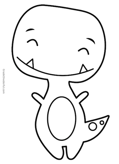 Two free coloring pages of Tiny T. Rex