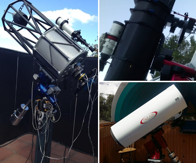 "The Three imaging systems used to collect data of NGC 6914, a reflection nebula in Cygnus. Carmelo Falco's 16"" f/7.8 Ritchey-Chretien (left), Paul Swift's VSD Vixen 380mm & AG14 1330mm Newtonian astrograph (above right) and Insight Observatory's 16"" f/3.7 Dream astrograph reflector, ATEO-1, (lower right)."