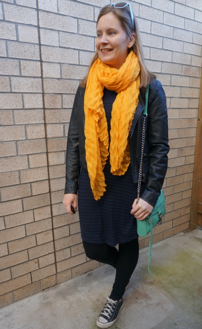 navy stripe tee dress layered up for winter leggings converse leather jacket mustard yellow scarf aqua bag | away from blue