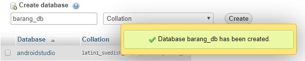 created tabel in database mysql xampp using phpmyadmin