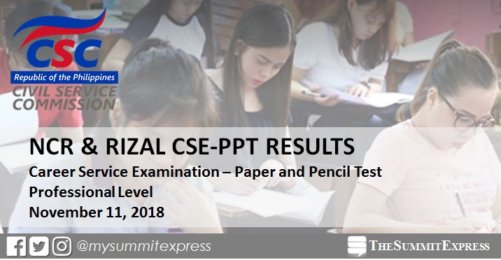 NCR, Rizal November 2018 civil service exam CSE-PPT results Professional Level