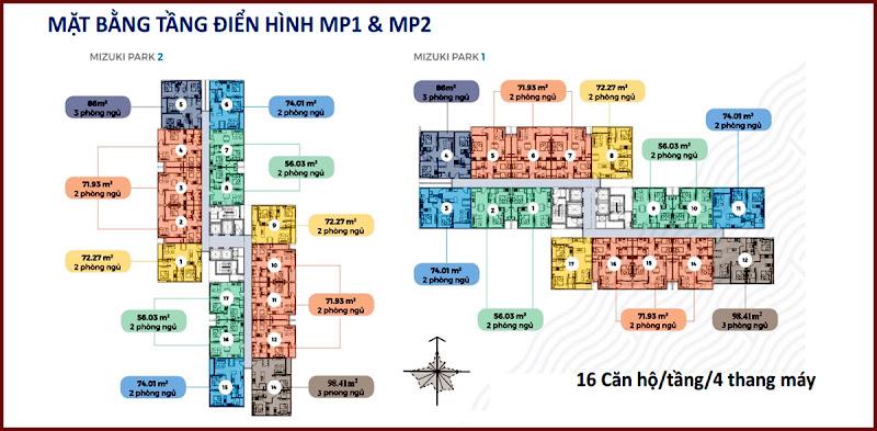 Thiết kế khu căn hộ Mizuki Park MP1 và MP2