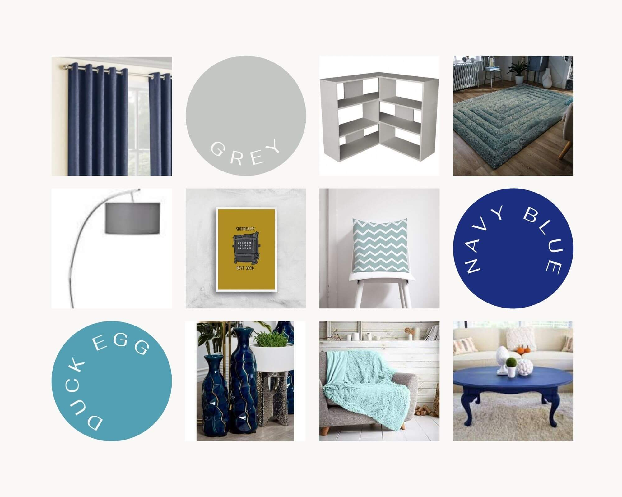 Navy Blue Living Room Moodboard