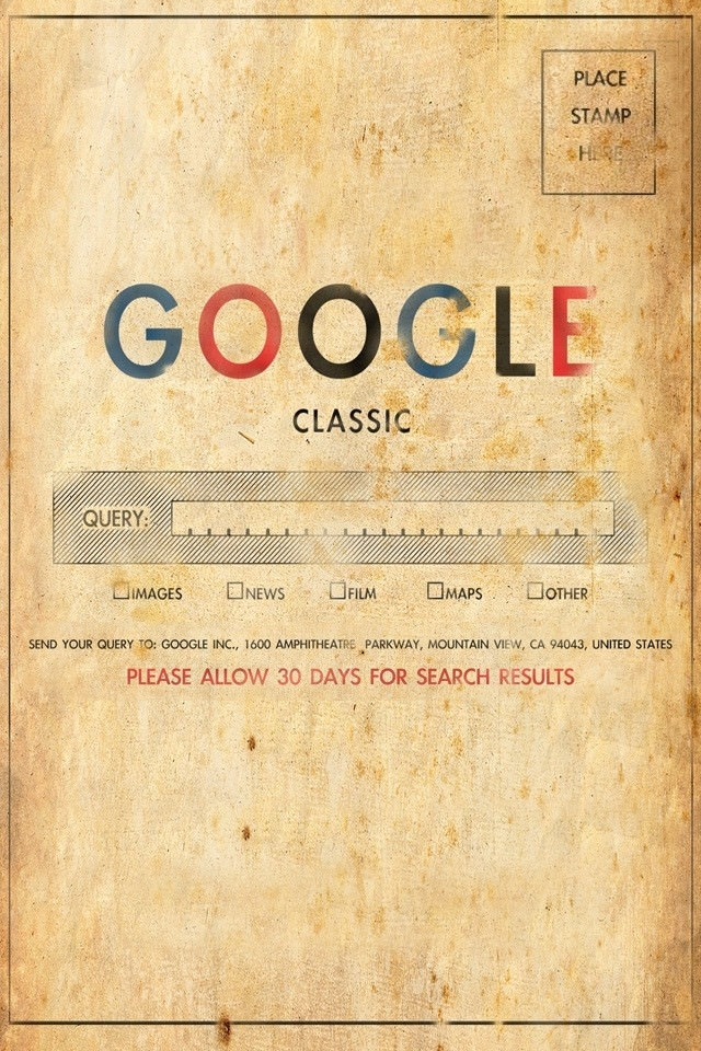 Google Classic - Place stamp here - Send your query to Google Inc