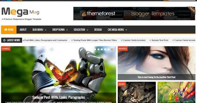 Mega Mag v1.30 - Responsive Magazine Blogger Template (Free Premium)