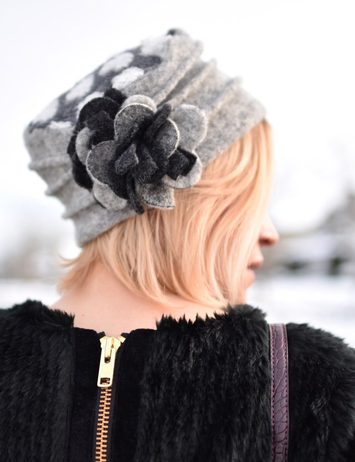 Monika Faulkner outfit inspiration - faux-fur pullover, flower-embellished felt hat