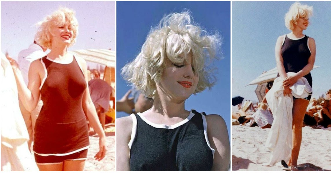 30 Candid Photographs Of Marilyn Monroe In Black Swimsuit From The 1959 Movie Some Like It Hot Beach Scene Vintage Everyday