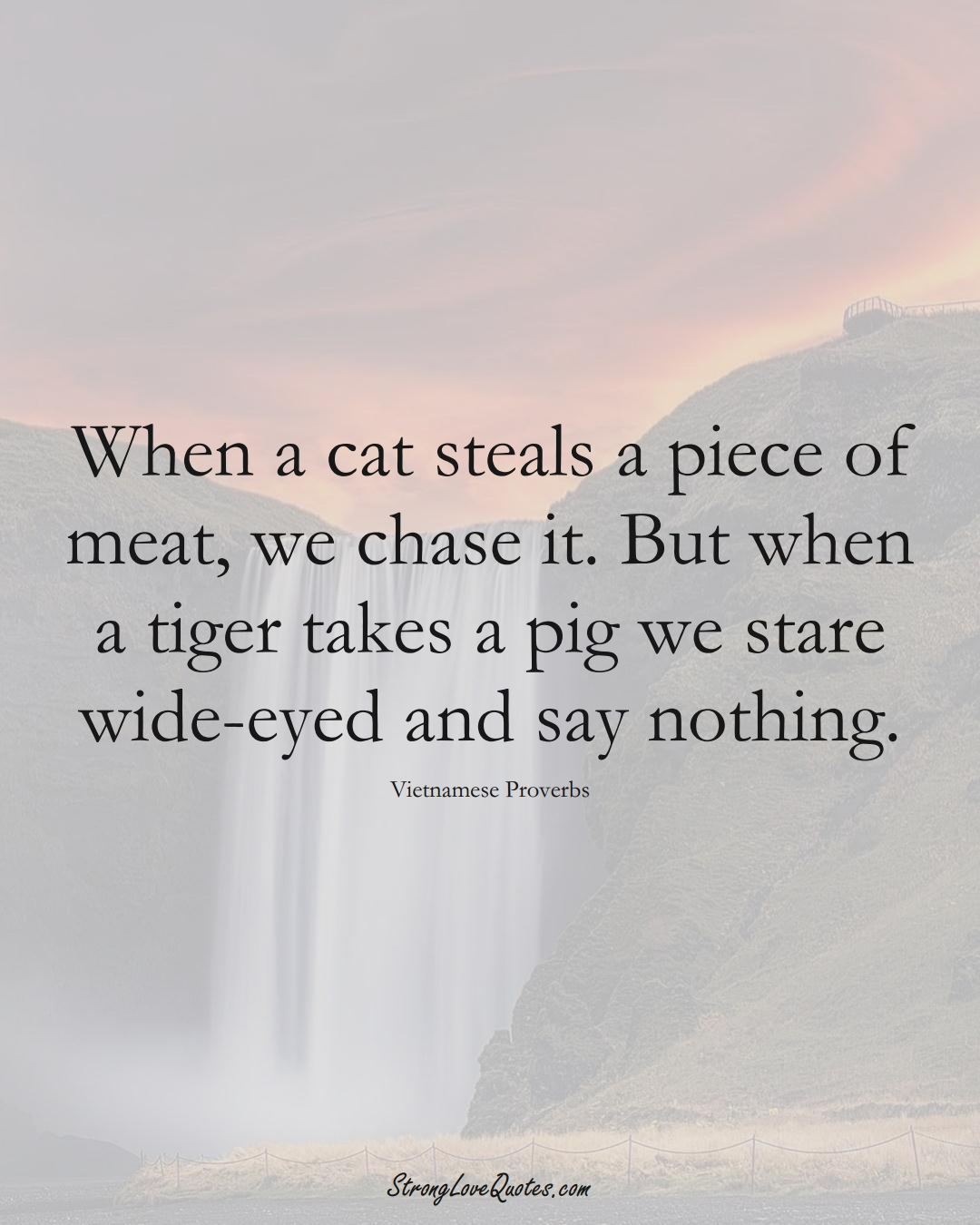 When a cat steals a piece of meat, we chase it. But when a tiger takes a pig we stare wide-eyed and say nothing. (Vietnamese Sayings);  #AsianSayings