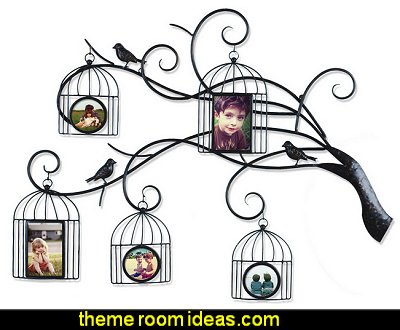 Tree Branch Bird Cage Family Photo Frame Picture Holder Metal Wall Art Decor