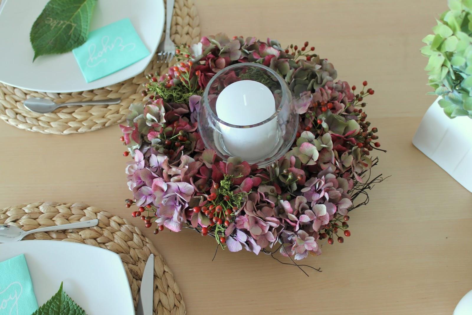 kleines freudenhaus tischdeko mit hortensien f r die flower power bloggers. Black Bedroom Furniture Sets. Home Design Ideas