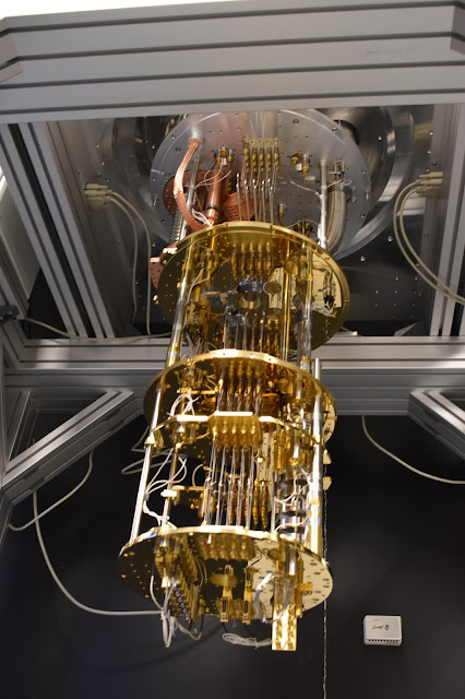 Shown is a cryogenic refrigerator installed in the Quantum Information and Sciences Laboratory at the Air Force Research Laboratory's Information Directorate in Rome, N.Y. The device is used by AFRL researchers to measure the energy and coherence times of superconducting quantum bits, known as qubits, two important characteristics that determine how long qubits can retain quantum information. (Courtesy photo)