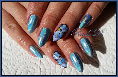 Holographic polish with flowers whole nail waterdecal