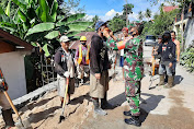 Babinsa 04/P Kodim 1309/Manado Budayakan Pakai Masker Bagi Para Pekerja Bangunan