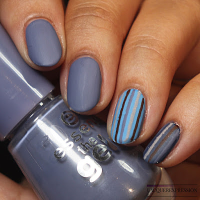 DIY vinyl stripes matte blue nail art manicure using gray blue, baby blue, brown, and grey neutral colors for fall